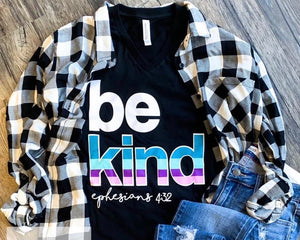 Be kind black v-neck tee
