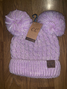 C.C double pom adult beanie hat