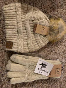 C.C pom tan beige hat and glove set