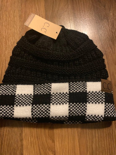 C.C buffalo plaid black beanie hat