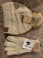 Load image into Gallery viewer, C.C pom tan beige hat and glove set