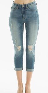Kancan Capri Jeans Distressed Light