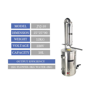 Stainless steel home essential oil Hydrolate steam distillation extraction equipment machine