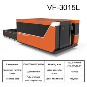 VF-3015L RAYCUS Fully Enclosed Intelligent CNC Metal Laser Cutting Machine With Switching Desktop