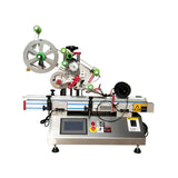 Desktop automatic flat bottle labeling machine , PET square bottle label applicator, automatic top labeler for case/box/bag