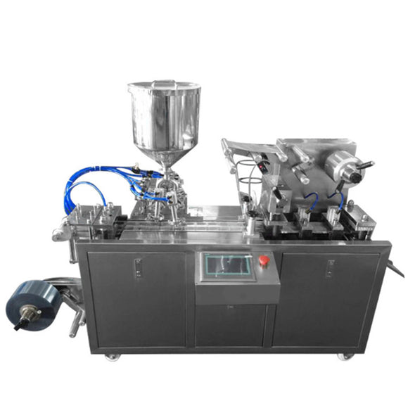 This machine has a 15L hopper, which can be used to fill and pack liquids and pastes such as honey, ketchup, salad dressing, etc. We can customize the mold according to customer requirements. The machine is controlled by a PLC controller, which can adjust the amount of filling and the speed of filling.