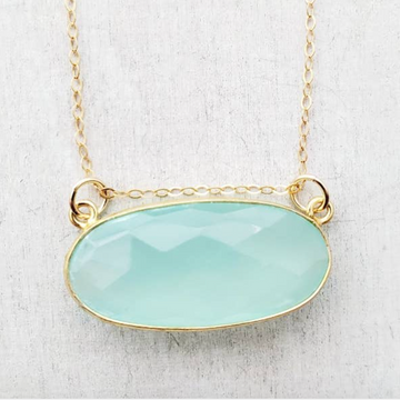 Floating Aqua Chalcedony Necklace