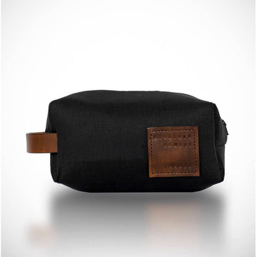 Made in Manoa Black Linen Dopp Bag