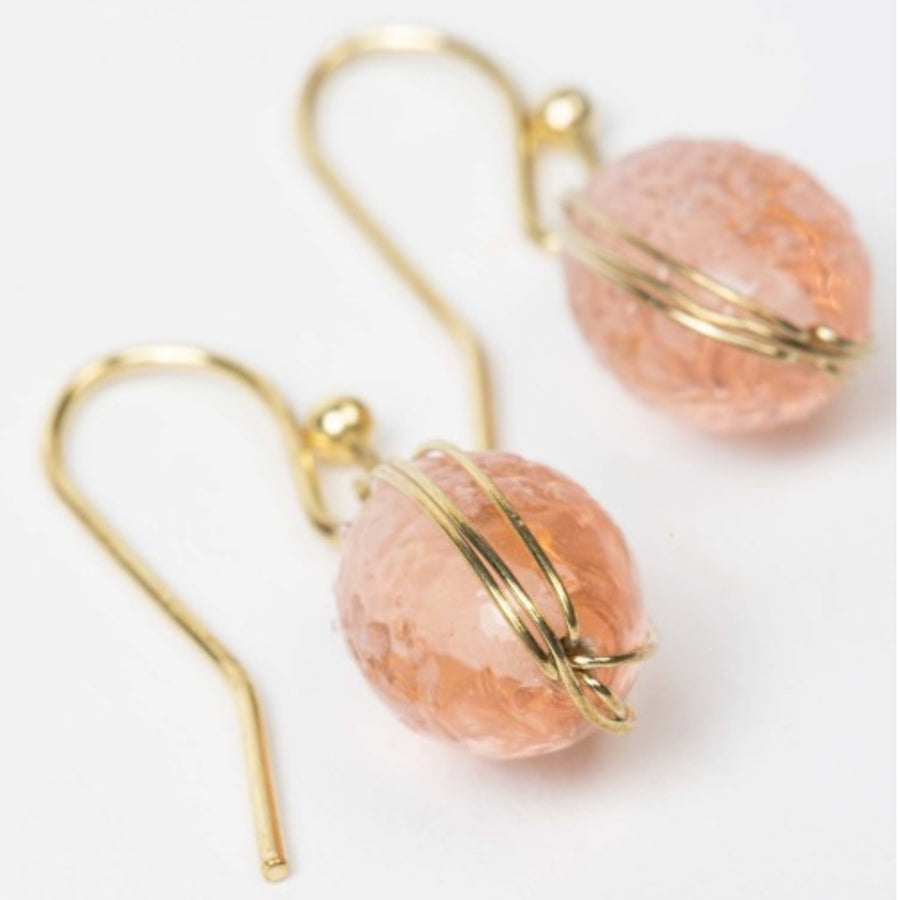Pink Glass and Wire Earrings