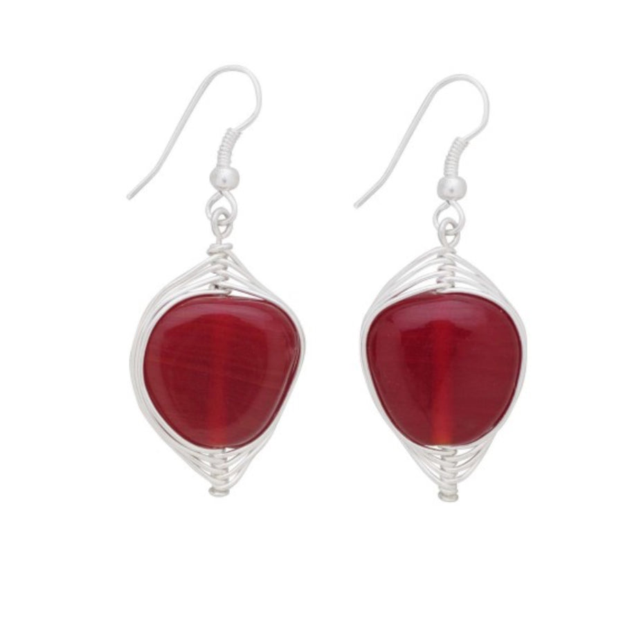 Red Glass and Wire Earrings