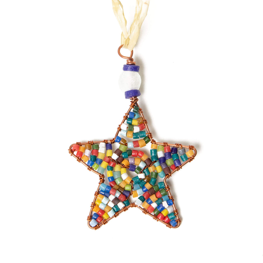 Mini Beaded Rainbow Star Ornament