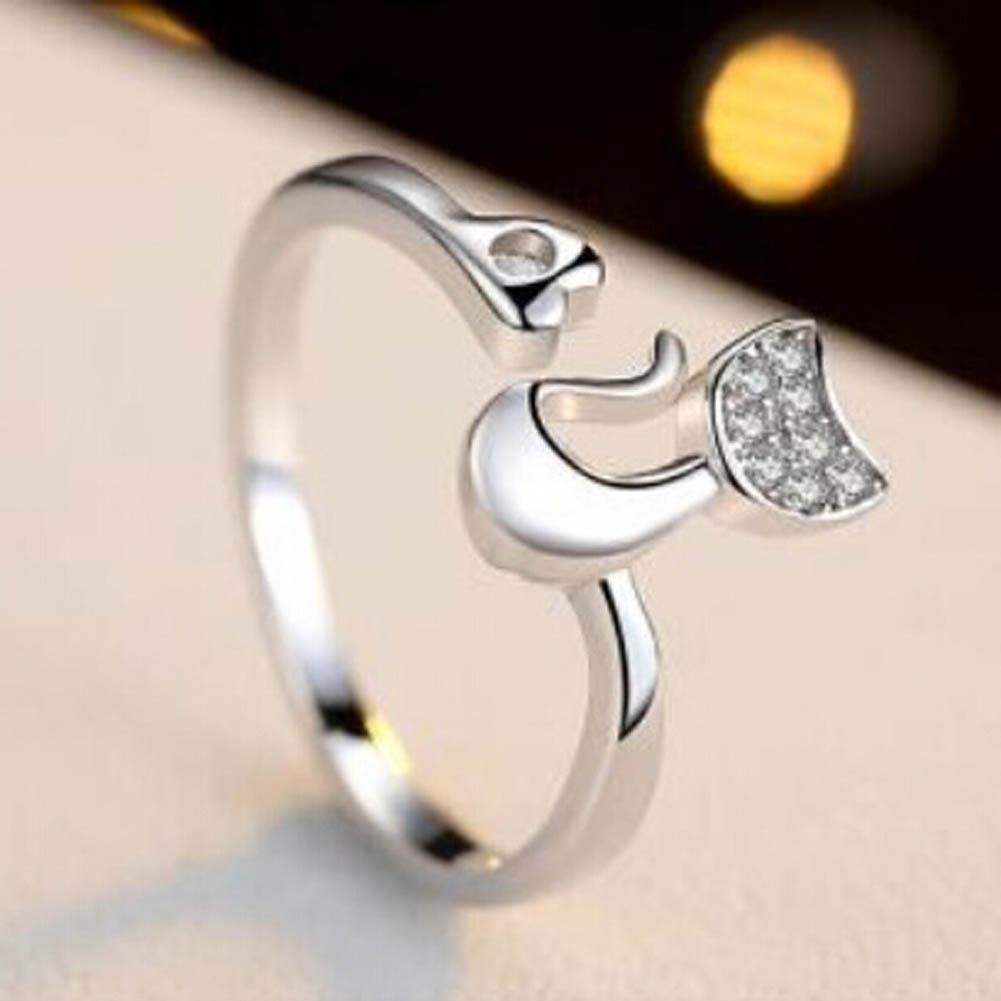 Cute cat ring in sterling silver-Buy 2 Free Shipping!!!
