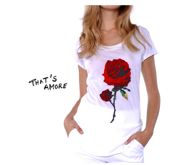 Rosebud white Tee  with Rose Graphic