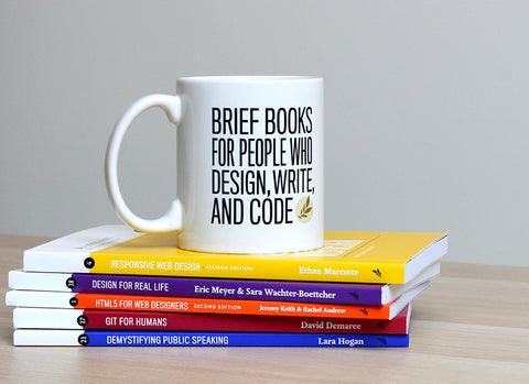 A Book Apart mug and books