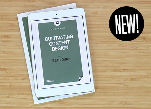 Overhead view of Cultivating Content Design ebook in a white iPad mini.