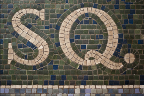 Close up of tile in subway.