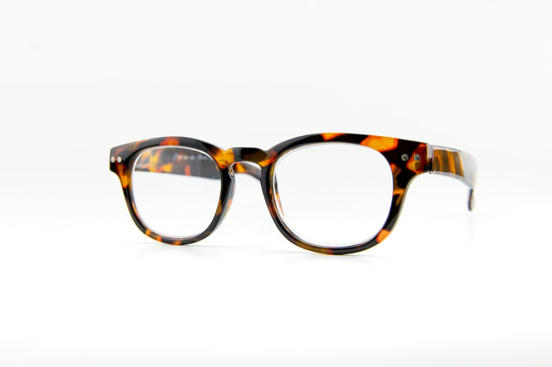 black orange clear reading glasses pantos style