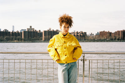 PINSTRIPE TWILL DENIM JACKET YELLOW