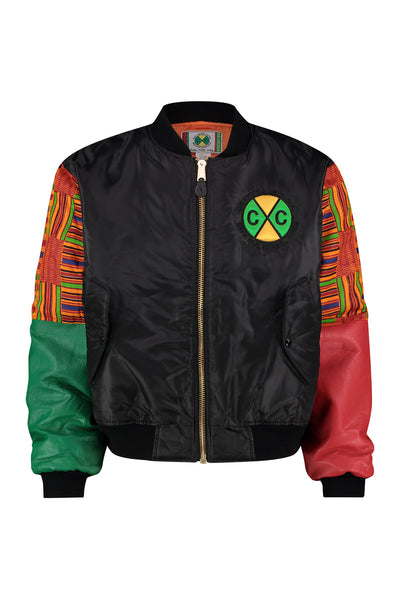 Classic Kente Bomber Jacket - Kente/Black