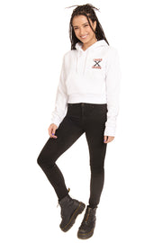 CROSS X COLOURS CROPPED HOODIE - WHITE