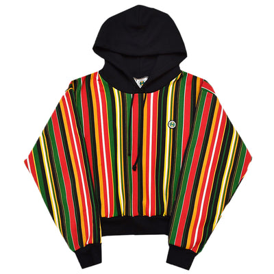 Retro Barcode Stripe Crop Hoodie - Red Multi
