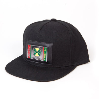 High Crown Snapback With Metal Plate - Black