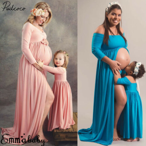 Bestebaby Photography Prop Pregnant Women Maxi Dress Gown Maternity Mother Daughter Match