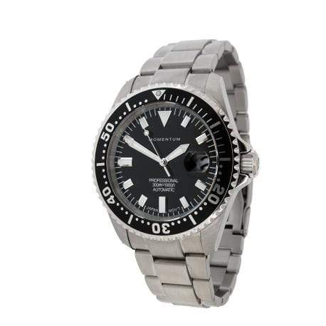 Momentum Wrist Watch Momentum Aquamatic III Automatic with Black Face and Steel Bracelet
