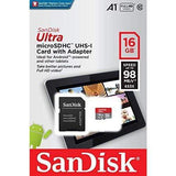 SanDisk Memory Card 16GB SanDisk Ultra - microSDHC USH-I Card with Adapter