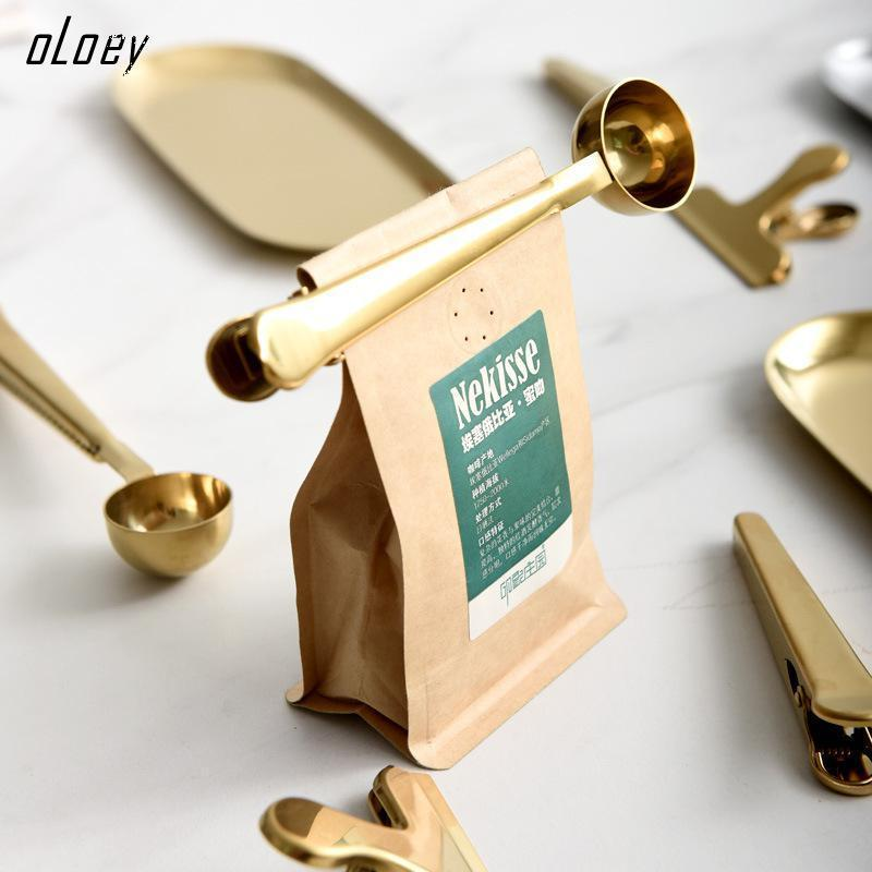 OLOEY Multifunction Kitchen Stainless Coffee Spoon And Sealing Clamp With Tea Measuring Milk Bean Clip Seal
