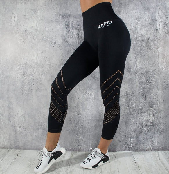 RapidWear - 7/8 Detailed Seamless Leggings (Svart)