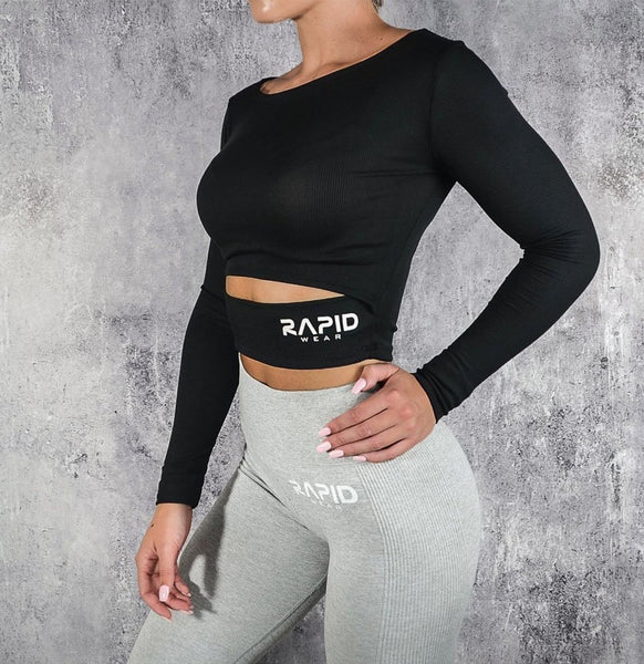 RapidWear - Long Sleeve Crop (Svart)