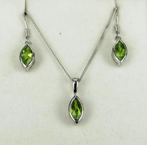 Marquise Earring and Pendant Set 8mm x 4mm - gecko-jewellers-mapatiza-mine