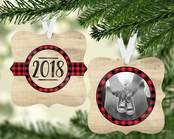 Wood and Plaid Ornament - PNG