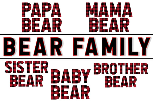 Plaid Bear Family- PNG