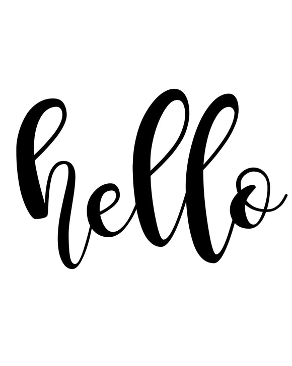 Hello - SVG, PNG, DXF