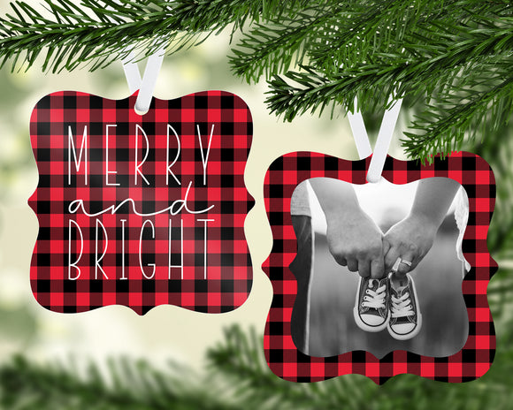 Merry & Bright Plaid Ornament - PNG