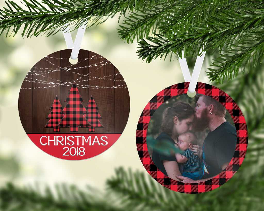 Rustic Chic Plaid Ornament - PNG