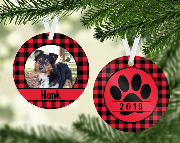 Buffalo Plaid Dog Ornament - PNG