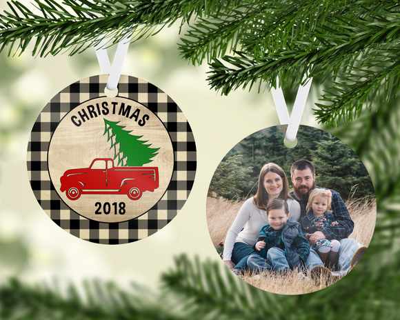 Plaid Truck Ornament - PNG
