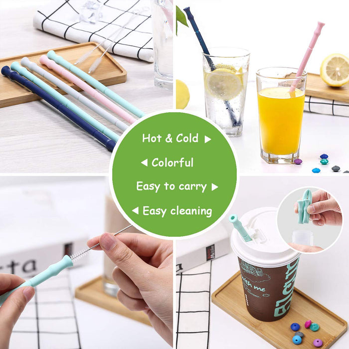 Wholesale Reusable Silicone Straw Custom Logo Collapsible Straws with Portable Case and Brush