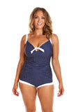 Capriosca Navy & White Dots Boyleg One Piece, One Piece, [Shop_name]
