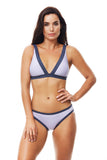 Moontide V Shape Triangle Bikini Jacquard Stripe M6789JS, Top, [Shop_name]