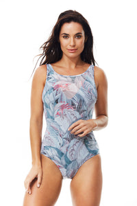 Moontide Paradise Mesh Overlay U/W V-neck Suit M4487PD, One Piece, [Shop_name]