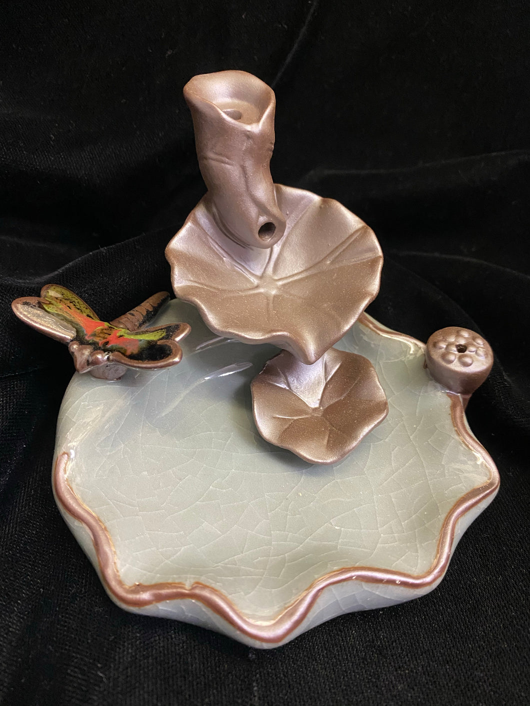 Backflow Cone Incense Burner Lilly Pad Dragonfly