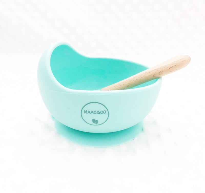 Silicone Bowl & Spoon set - Seafoam