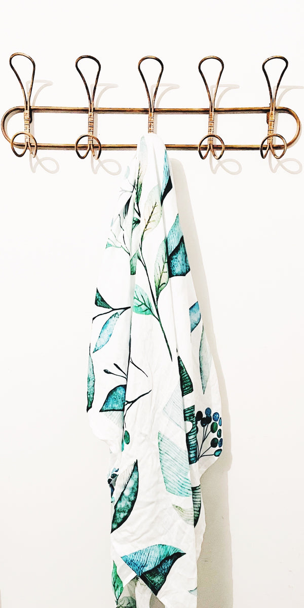 Bamboo Cotton Muslin Wrap Blanket - Leafy Green