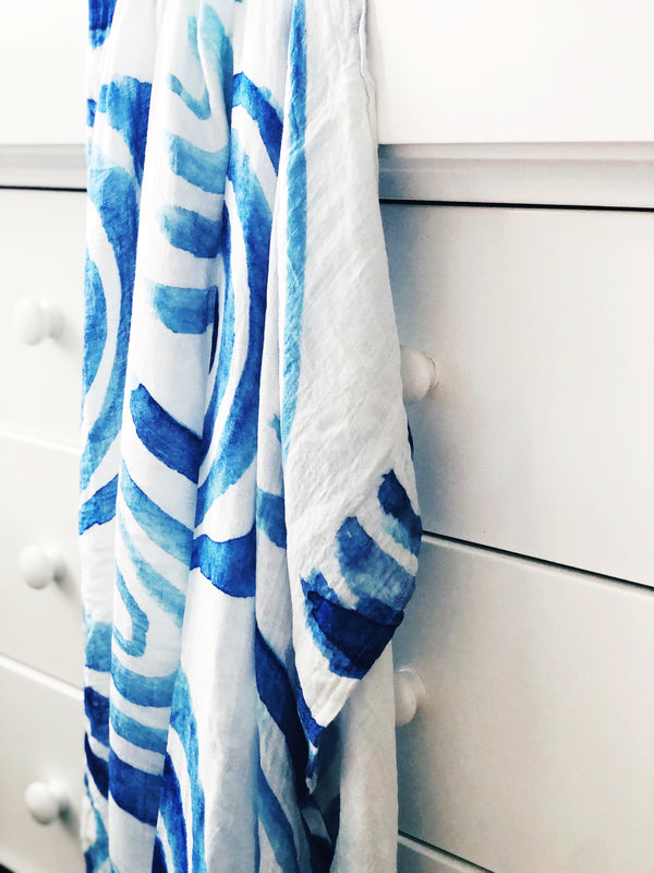 Bamboo Cotton Muslin Wrap Blanket - Blue Burst