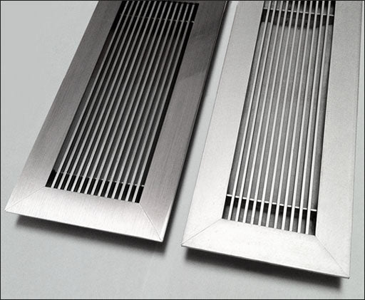 floor vent covers anodized clear finish vs brushed chrome finish side by side floor and wall registers by kulgrilles