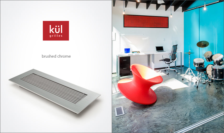 vent covers brushed chrome finish kul logo on polished concrete floor red accents blue wall kube architectur by kulgrilles